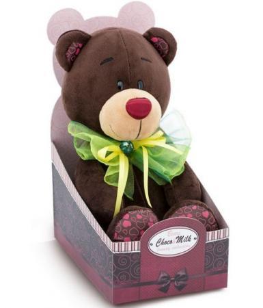 купить Мягкая игрушка медведь ORANGE Медведь Зелёный бант 20 см коричневый зеленый искусственный мех С016/20
