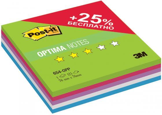 Бумага с липким слоем 3M 125 листов 76x76 мм многоцветный Post-it Optima Лето плюс 654-OPP цена и фото