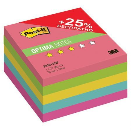 лучшая цена Бумага для заметок с липким слоем POST-IT OPTIMA Лето плюс, 76х76 мм, неоновая радуга, 5 цв, 500 л.