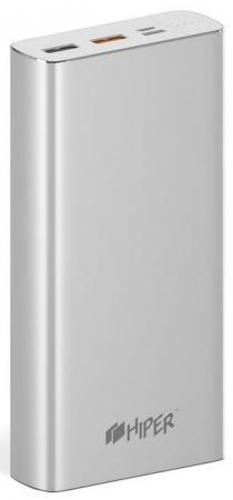 Внешний аккумулятор Power Bank 20000 мАч HIPER MPX20000 серебристый