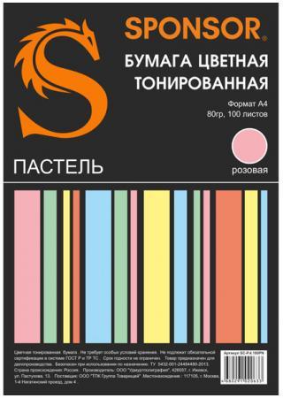 Цветная бумага SPONSOR SC-P.4.100PN A4 100 листов тонированная, пастель бумага цветная тонированная sponsor а4 80гр 100 листов пастель 5 цветов по 20л