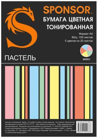 Цветная бумага SPONSOR SC-P.4.100mix A4 100 листов тонированная, пастель бумага цветная тонированная sponsor а4 80гр 100 листов пастель 5 цветов по 20л