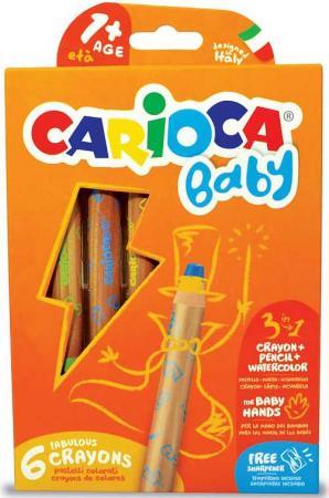 Набор экстра-крупных восковых карандашей CARIOCA BABY, в дерев корпусе, 6 цв, +точилка, уп. с европ. пифагор набор карандашей восковых 24 цвета