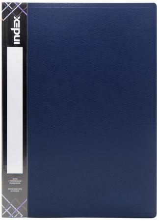 Папка с 80 файлами SATIN, форзац, ф.A4, 0,7мм, темно-синяя папка регистратор 80 мм эконом без покрытия