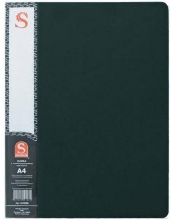 Папка с 40 файлами METALLIC, форзац, ф.A4, 0,8мм, темно-зеленая