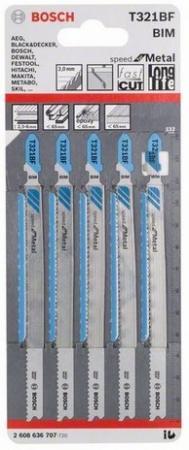 Пилки для лобзика BOSCH 2608636707 5шт. T321BF SPEED METAL пилки для лобзика bosch 92мм 5шт t102bf clean for pммa 2 608 636 781