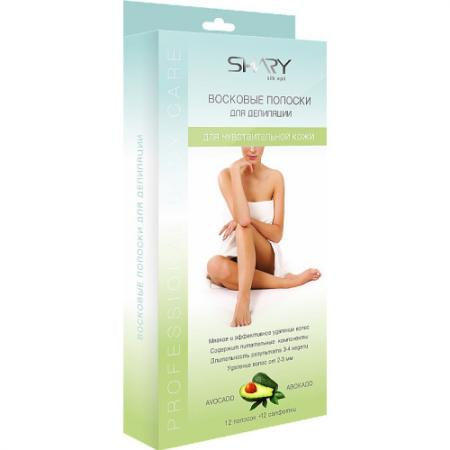 SHARY Восковые полоски для чувствительной кожи Авокадо 12 полосок 12 салфеток восковые полоски для чувствительной кожи ромашка floresan 20 шт