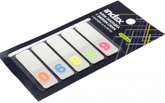 лучшая цена Блок-закладка с липким слоем, разм. 12х45 мм, пластик., 5 закл. по 20 листов, цифры 6-0