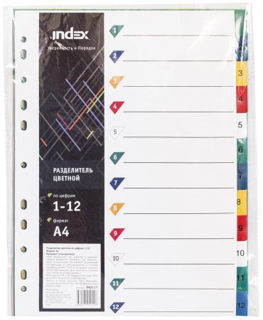 Фото - Разделитель пластиковый, цифровой 1-12. ф. А4, цветной разделитель индексный durable 6630 19 a4 пластик 5 индексов с карманами цветные разделы