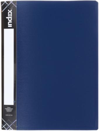 Папка с пружинным скоросшивателем SATIN, карман, форзац, ф.A4, 0,6мм, темно-синяя