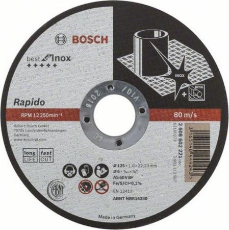 Круг отрезной BOSCH Best for Inox Rapido 125x1,0x22 (2.608.602.221) по нержавеющей стали
