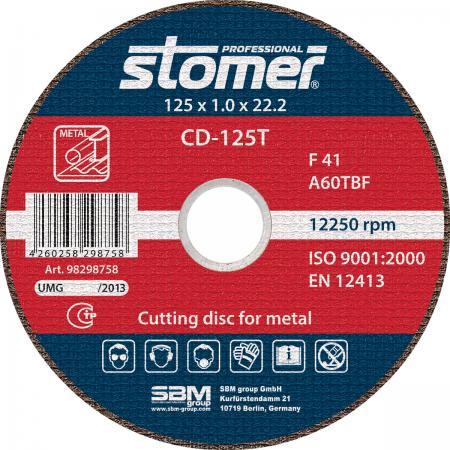 Круг отрезной STOMER CD-125T 125х1.0мм посадочный 22.2мм 13300об/мин зернистость 60 цена