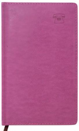 Телефонная книга DELI, кожзам, розовая, тонир.блок, с выруб., лин.,ляссе,192с.,разм.130*210мм