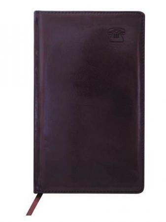 Телефонная книга NEBRASKA, кожзам, коричневая, тонир.блок, с выруб., лин.,ляссе,192с.,разм.130*210мм