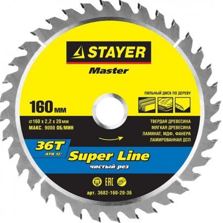 цена на Круг пильный твердосплавный STAYER MASTER 3682-160-20-36 super-line по дереву 160х20мм 36T