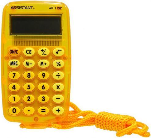 Калькулятор карманный 8-разр. на шнурке, вычисление %, большой дисплей, разм.115х69х9,5 мм АС-1192 OR калькулятор 12 разр дв питание дв память черный пластик большой дисплей разм 206х155х35 мм a