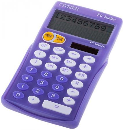 Калькулятор карманный, 10 разр., JUNIOR 2-х стр., дв. питание, сиреневый, разм.129x76х17мм калькулятор citizen lc 310n карманный 8рр 7х11х2см черный