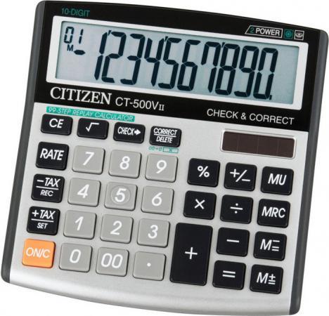 Калькулятор настольный 12 разр,2-е пит,Check&Correct 99 шагов TAX MU, серый/черн, разм. 134х135х27мм canon as 888 bk черный кальк наст 16 разр 2 ое пит 2 памяти