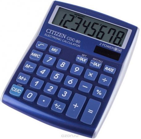 Калькулятор настольный 8 разр. 2-е питание TAX MU синий, разм. 135х108х24 мм калькулятор настольный 8 разр 2 е питание tax mu белый красный разм 135х108х24 мм