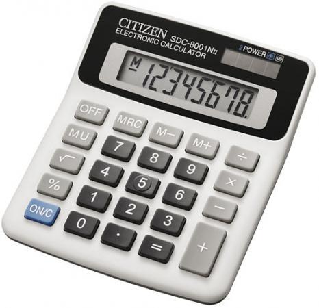 Калькулятор настольный малый, 8разр., дв. питание, белый, в карт. коробке 127х107х32 мм калькулятор настольный canon 16 разрядов 2 е питание 140х192х32мм