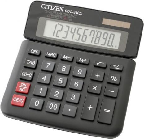Калькулятор настольный Citizen SDC-340III 10-разрядный черный citizen настольный калькулятор sdc 554s