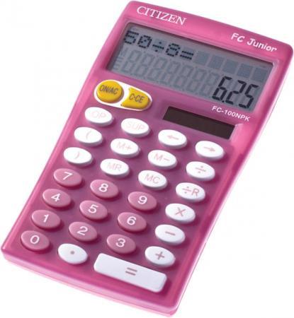 Фото - Калькулятор карманный Citizen Junior FC-100NPK 10-разрядный розовый meike fc 100 for nikon canon fc 100 macro ring flash light nikon d7100 d7000 d5200 d5100 d5000 d3200 d310