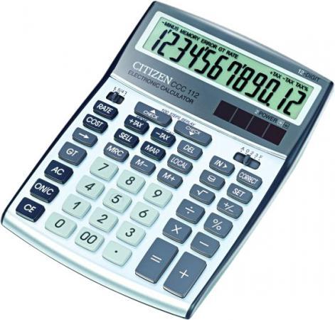 купить Калькулятор настольный Citizen CCC-112WB 12-разрядный серебристый по цене 1050 рублей
