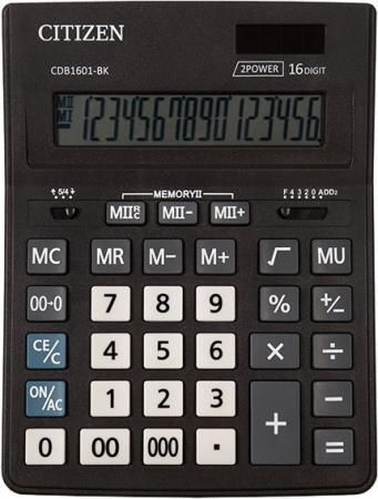 Калькулятор настольн BUSINESSLINE,16 разр., дв. питание, 2 памяти, черный корпус, разм.200*157*35 мм калькулятор 12 разр дв питание дв память черный пластик большой дисплей разм 206х155х35 мм a