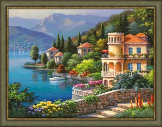Алмазная живопись Озеро Комо 40*30 живопись diy digital painting diy 30 40
