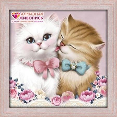 Алмазная живопись Кот и кошка 25х25 масляная живопись yue hao yh0334 7585