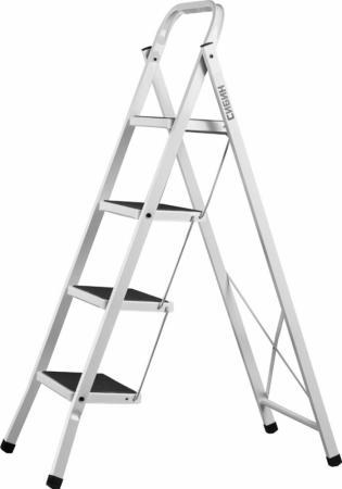 Лестница СИБИН 38807-04 стремянка стальная c широкимиступенями 4ступени стремянка стальная алюмет 10ст вес 10 2кг hраб 4 1м 2 90м