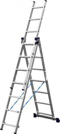 Лестница СИБИН 38833-07 универсальная трехсекционная со стабилизатором 7ступеней