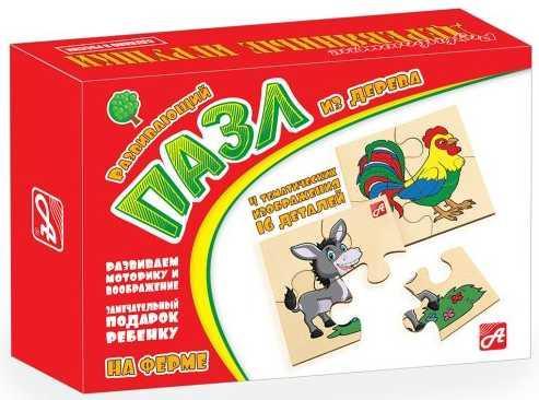 Пазл деревянный 4 элемента Русские деревянные игрушки На ферме Д548а фото