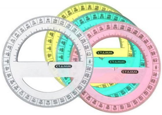 Транспортир 360*, цветной, флюоресц., прозрачный, 4 цв., 12 см