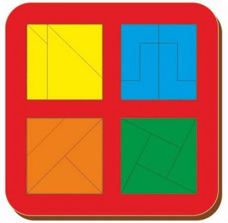 Рамка вкладыш Woodland Сложи квадрат. 4 квадрата. Уровень 3 от 3 лет рамка вкладыш woodland 011103 ёжик