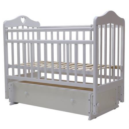 Кроватка с маятником Топотушки Оливия-7 (арт. 36/с сердечком/белый)