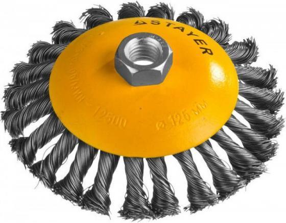 Кордщетка STAYER PROFESSIONAL 35135-125 коническая М14 плетёная 0.5мм d125мм