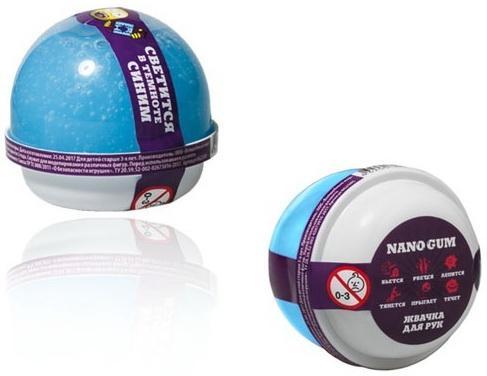 Жвачка для рук Nano gum, светится в темноте синим , 25 гр. волшебный мир жвачка для рук волшебный мир nano gum светится в темноте синим 50 гр