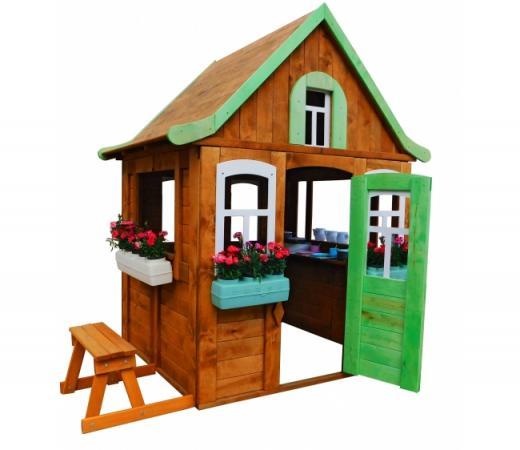 Игровой домик Можга Детский домик Цветочный c кухней и цветочницами (P920-2)