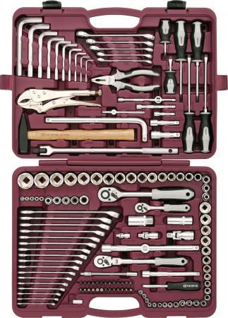 Набор инструментов THORVIK UTS0142 универсальный 1/4 3/8 и 1/2DR 142 предмета набор инструментов ombra omt150s18 юбилейная серия универсальный 1 4 3 8 и 1 2150предметов