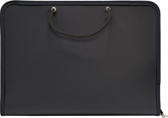 Папка для тетрадей SPONSOR ф. A4, с ручками, на молнии, , пластик, черная папка a4 4 кольца черная rb 16 4 06