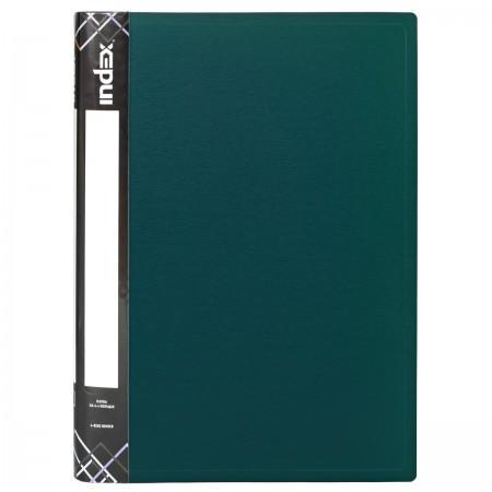Папка на 4 кольцах SATIN, форзац, ф.A4, темно-зеленая, 0.6мм, 2см папка на 2 кольцах index satin форзац ф a4 серебристая 0 6мм 2см