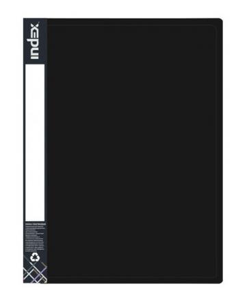 Папка на 2 кольцах METALLIC, форзац, ф.A4, черная, 0.75мм, 2см папка на 2 кольцах index satin форзац ф a4 серебристая 0 6мм 2см