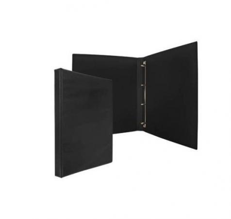Папка-файл на 4 кольцах, черная, PVC, 25 мм, диаметр 16мм.