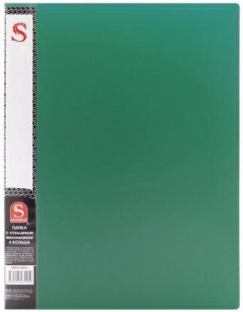 Папка на 4 кольцах, ф.А4,0,7 мм, карман, форзац, зеленая папка на 60 карм а4 proff 0 75 мм зеленая db60ab 03