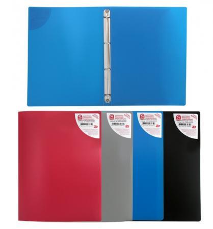 Папка на 4 кольцах, ф.А4, ассорти (черная, синяя, красная, серая), 0,4 мм SRB04/ASS/SPEC папка a4 4 кольца черная rb 16 4 06