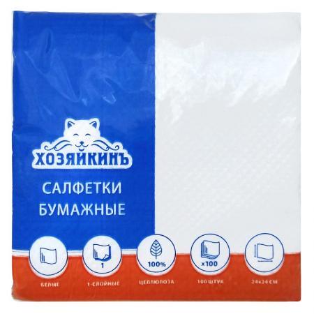 цена на Салфетки бумажные ХОЗЯЙКИНЪ HZN-10010 100 шт 1-слойные