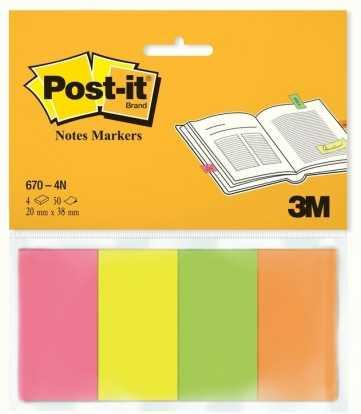 Закладки для страниц POST-IT INDEX, бумажные, неон, 20мм х38 мм, 4цв x50 шт.