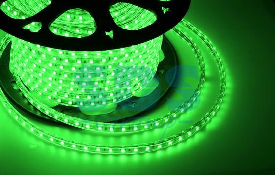 LED лента 220В, 10*7 мм, IP65, SMD 2835, 60 LED/m Зеленая, бухта 100 м tny278gn smd 7