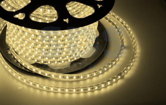 LED лента 220В, 10*7 мм, IP65, SMD 2835, 60 LED/m Тепло-белая, бухта 100 м jrled jr led 5050 smd 14 4w 500lm orange led luminous module white yellow dc 12v